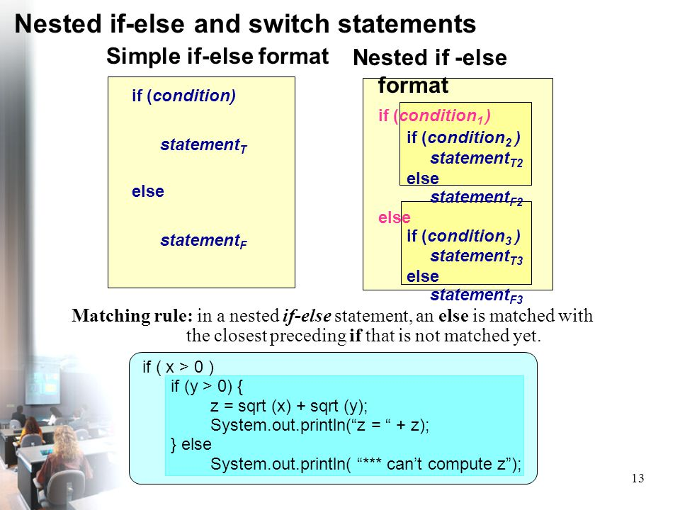 13 Nested if-else and switch statements Simple if-else format if (condition) statement T else statement F Nested if -else format if (condition 1 ) if
