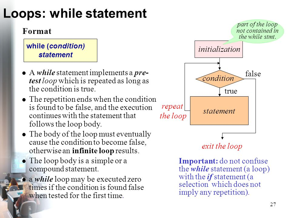 27 Loops: while statement exit the loop condition true initialization statement false Important: do not confuse the while statement (a loop) with the
