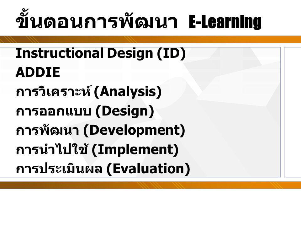 ขั้นตอนการพัฒนา E-Learning Instructional Design (ID) ADDIE การวิเคราะห์ (Analysis) การออกแบบ (Design) การพัฒนา (Development) การนำไปใช้ (Implement) กา