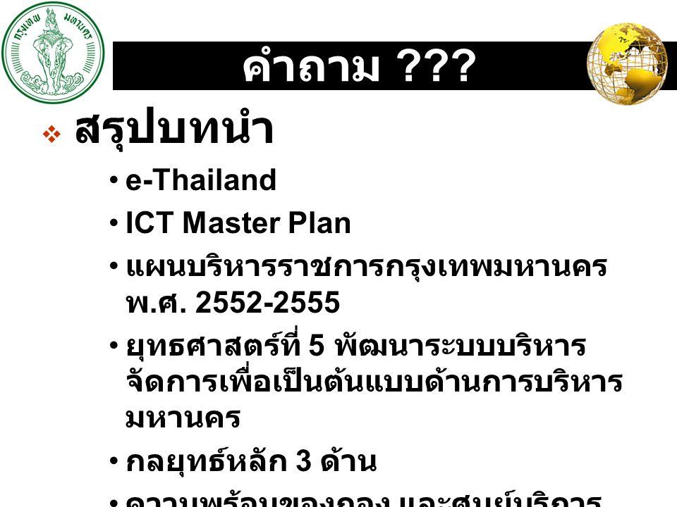LOGO คำถาม ???  สรุปบทนำ e-Thailand ICT Master Plan แผนบริหารราชการกรุงเทพมหานคร พ. ศ. 2552-2555 ยุทธศาสตร์ที่ 5 พัฒนาระบบบริหาร จัดการเพื่อเป็นต้นแบ
