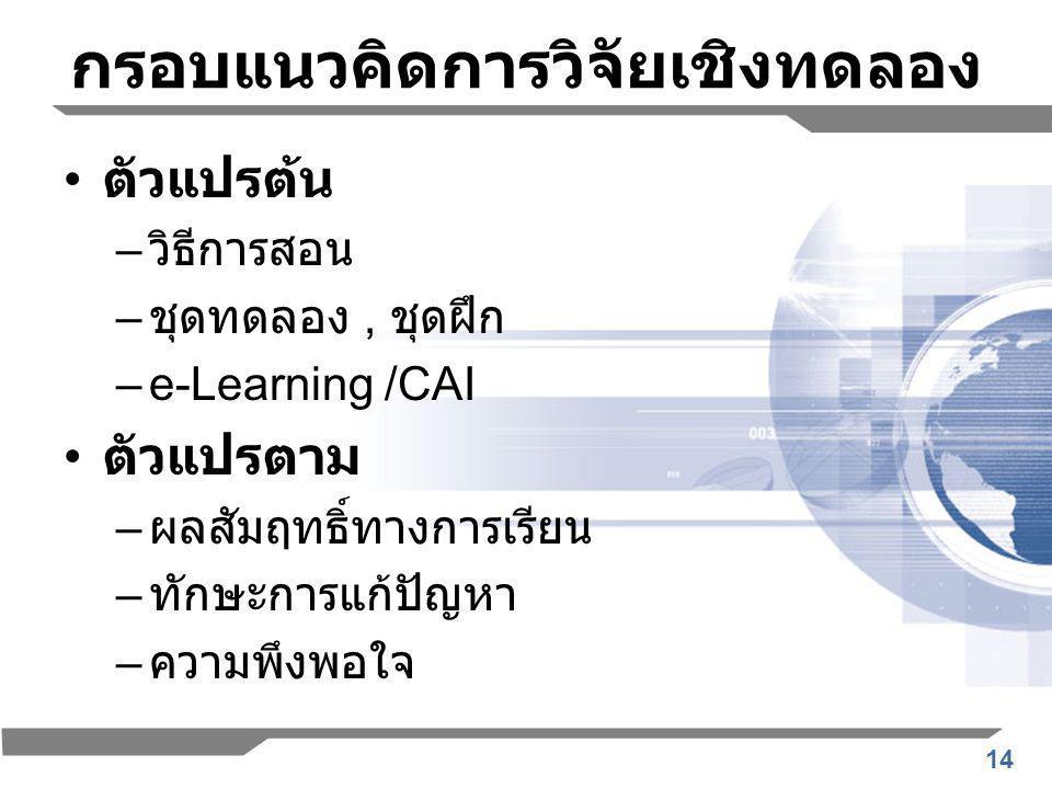 14 กรอบแนวคิดการวิจัยเชิงทดลอง ตัวแปรต้น – วิธีการสอน – ชุดทดลอง, ชุดฝึก –e-Learning /CAI ตัวแปรตาม – ผลสัมฤทธิ์ทางการเรียน – ทักษะการแก้ปัญหา – ความพึงพอใจ