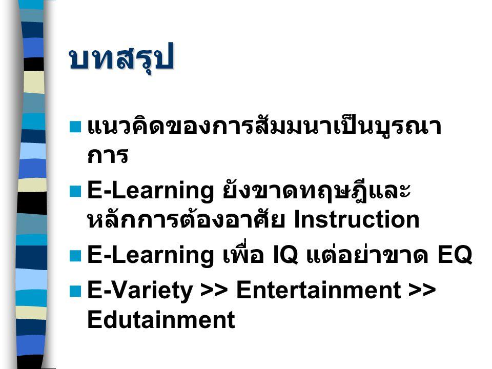 บทสรุป แนวคิดของการสัมมนาเป็นบูรณา การ E-Learning ยังขาดทฤษฎีและ หลักการต้องอาศัย Instruction E-Learning เพื่อ IQ แต่อย่าขาด EQ E-Variety >> Entertain