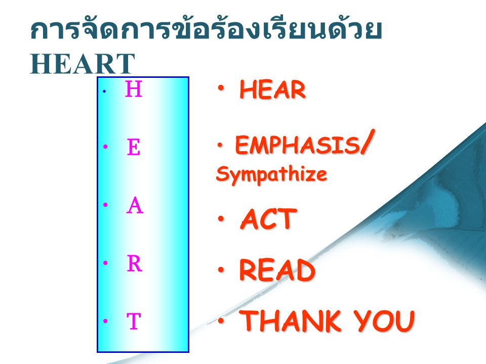 การจัดการข้อร้องเรียนด้วย HEART H E A R T H HEAR E EMPHASIS/ Sympathize A ACT R READ T THANK YOU