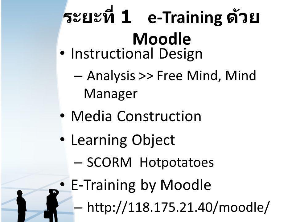 ระยะที่ 1 e-Training ด้วย Moodle Instructional Design – Analysis >> Free Mind, Mind Manager Media Construction Learning Object – SCORM Hotpotatoes E-T