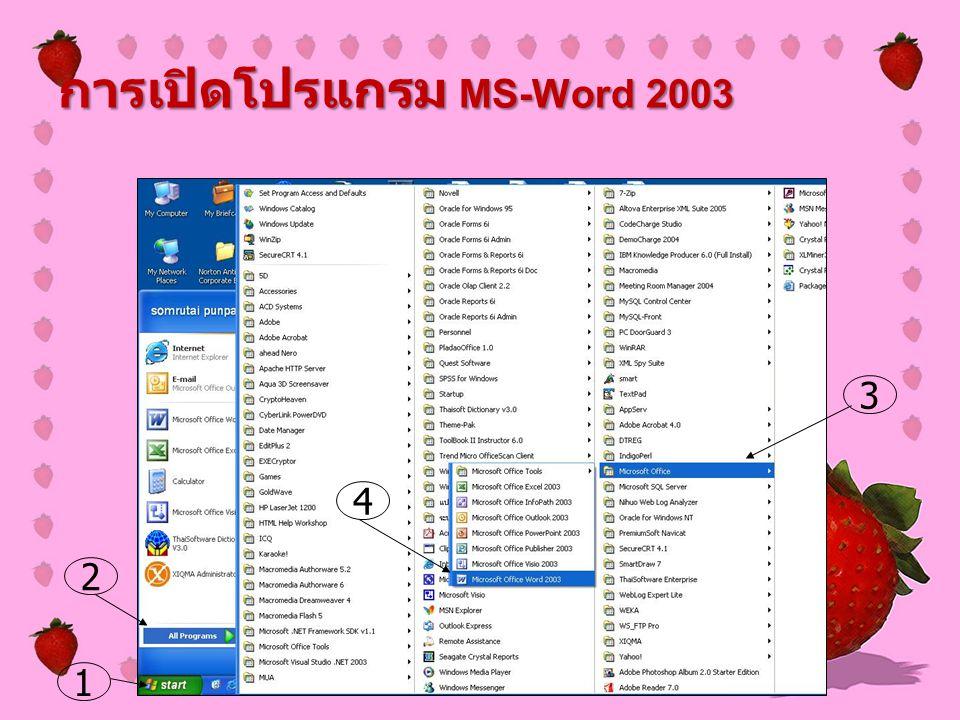 การเปิดโปรแกรม MS-Word 2003 2 3 4 1