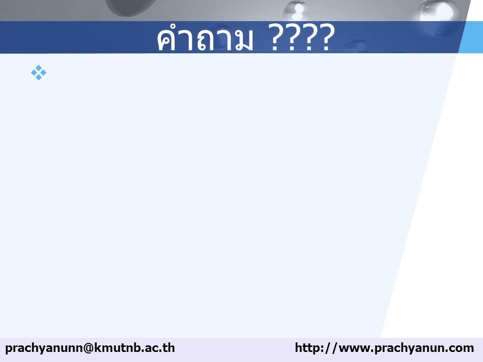LOGO คำถาม ????  prachyanunn@kmutnb.ac.thhttp://www.prachyanun.com