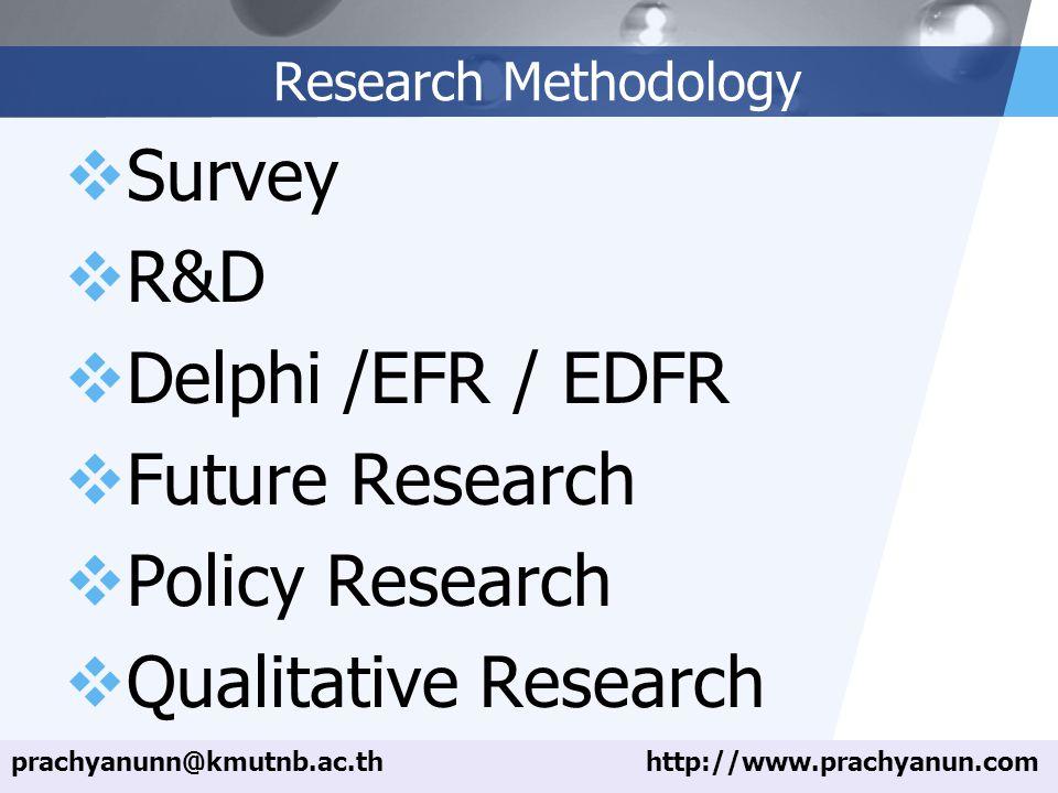 LOGO Research Methodology  Survey  R&D  Delphi /EFR / EDFR  Future Research  Policy Research  Qualitative Research prachyanunn@kmutnb.ac.thhttp://www.prachyanun.com