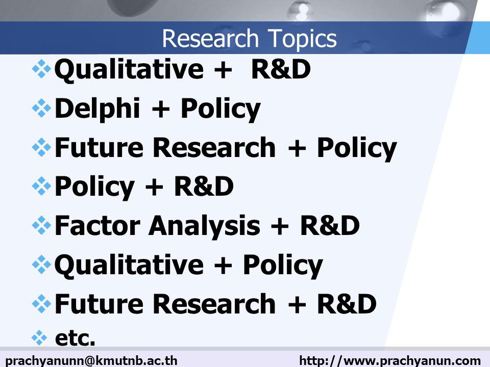 LOGO Research Topics  Qualitative + R&D  Delphi + Policy  Future Research + Policy  Policy + R&D  Factor Analysis + R&D  Qualitative + Policy  Future Research + R&D  etc.
