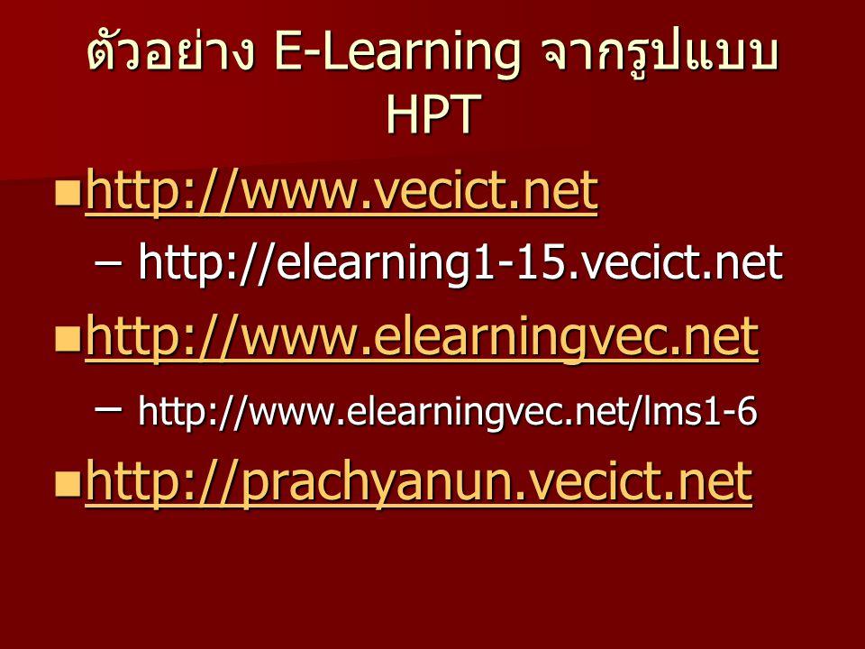 ตัวอย่าง E-Learning จากรูปแบบ HPT http://www.vecict.net http://www.vecict.net http://www.vecict.net – http://elearning1-15.vecict.net http://www.elearningvec.net http://www.elearningvec.net http://www.elearningvec.net – http://www.elearningvec.net/lms1-6 http://prachyanun.vecict.net http://prachyanun.vecict.net http://prachyanun.vecict.net