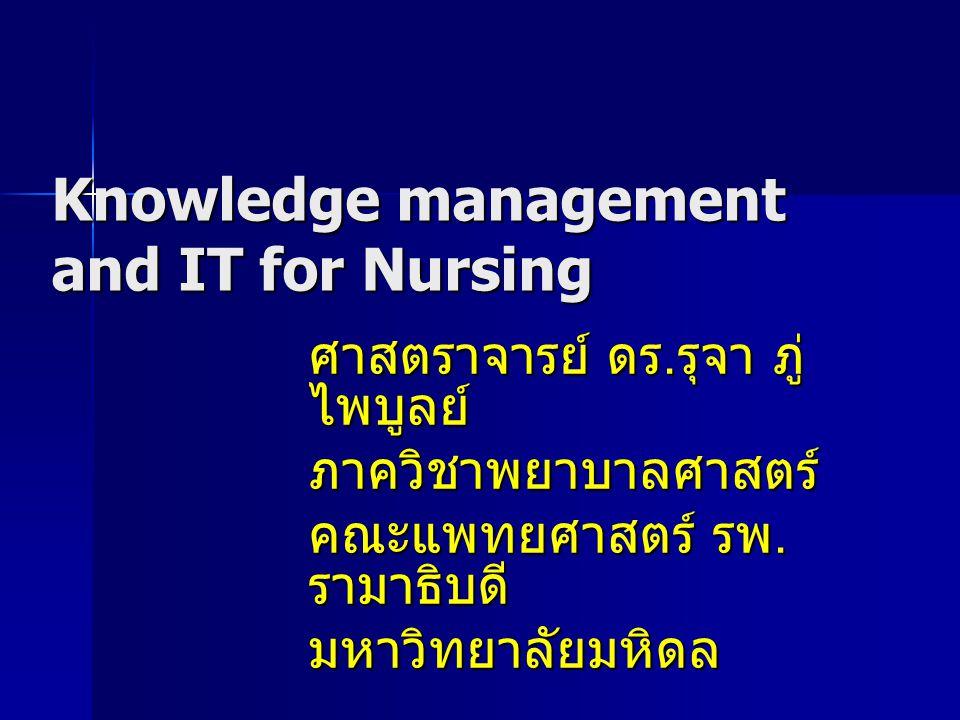 DATA, INFORMATION and KNOWLEDGE Data Data ข้อมูลดิบที่ยังไม่ได้ผ่าน การแปลความหมาย Information Information ข้อมูลที่ผ่านการ แปลความหมาย แปลความหมาย จัดกลุ่มหรือจัด โครงสร้างแล้ว Knowledge Knowledge ความรู้ที่ได้จาก การสังเคราะห์ การสังเคราะห์ เพื่อหารูปแบบ และระบุความสัมพันธ์ของข้อมูล ดิบ ดิบ ที่ได้