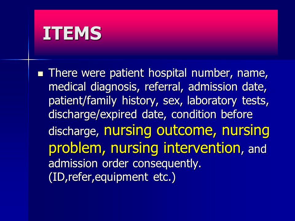 ข้อมูลทางการพยาบาลที่ จำเป็น ข้อมูลสำหรับการเก็บไว้ในฐานข้อมูล เพื่อการนำมาใช้ วิเคราะห์ เปรียบเทียบ (Werluy et al. 1995) ข้อมูลสำหรับการเก็บไว้ในฐานข