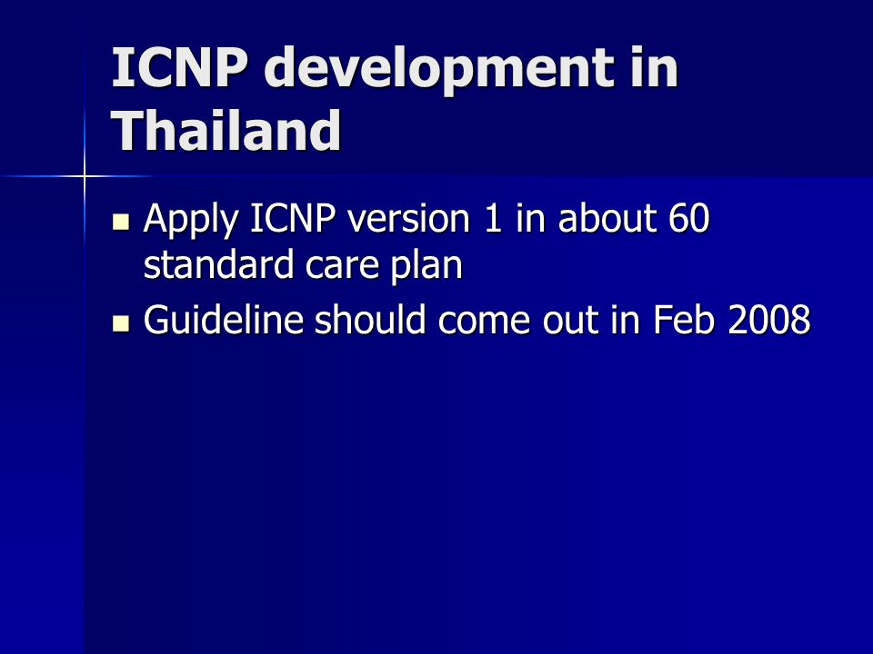 Thailand ICNP development Thai Nurses' Association Nursing Division (Institute), MOPH Nursing Informatics Society of Thailand Nursing Council of Thail