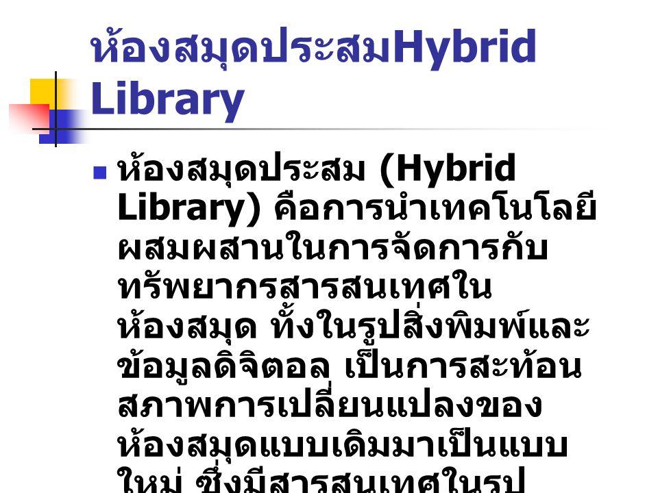 ห้องสมุดเสมือน Virtual Library ห้องสมุดเสมือนหมายถึง แหล่ง สารสนเทศอิเล็กทรอนิกส์ที่มีการ จัดการอย่างมีระบบและให้บริการค้น คืนสารสนเทศแบบออนไลน์ในระบบ เครือข่าย โดยที่ผู้ใช้สามารถเข้าถึง ระยะไกลมายังห้องสมุดเพื่อสืบค้น และใช้สารสนเทศของห้องสมุดหรือ เชื่อมโยงกับแหล่งสารสนเทศอื่นได้ ทุกที่ในระบบเครือข่าย เพื่อให้ผู้ใช้ สามารถใช้ได้ทุกเมื่อที่ต้องการอย่าง มีประสิทธิภาพและประสิทธิผล