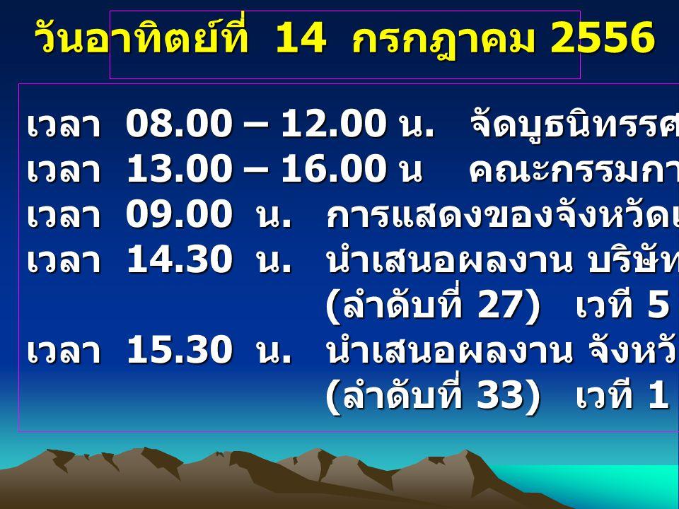วันอาทิตย์ที่ 14 กรกฎาคม 2556 เวลา 08.00 – 12.00 น. จัดบูธนิทรรศการ เวลา 13.00 – 16.00 น คณะกรรมการตรวจเยี่ยมและให้คะแนน เวลา 09.00 น. การแสดงของจังหว