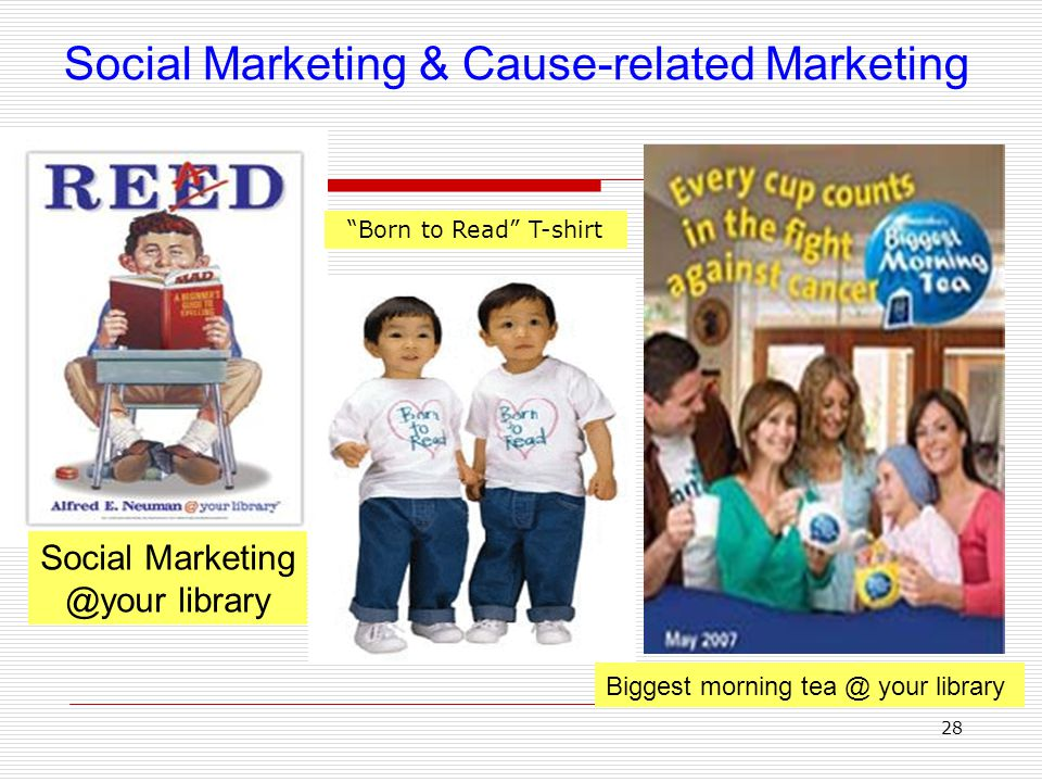 28 Biggest morning tea @ your library Social Marketing & Cause-related Marketing Social Marketing @your library Born to Read T-shirt
