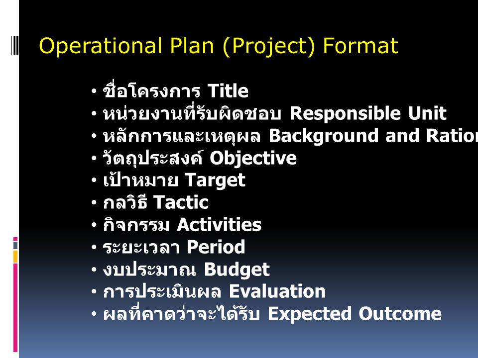 Operational Plan (Project) Format ชื่อโครงการ Title หน่วยงานที่รับผิดชอบ Responsible Unit หลักการและเหตุผล Background and Rationale วัตถุประสงค์ Objective เป้าหมาย Target กลวิธี Tactic กิจกรรม Activities ระยะเวลา Period งบประมาณ Budget การประเมินผล Evaluation ผลที่คาดว่าจะได้รับ Expected Outcome