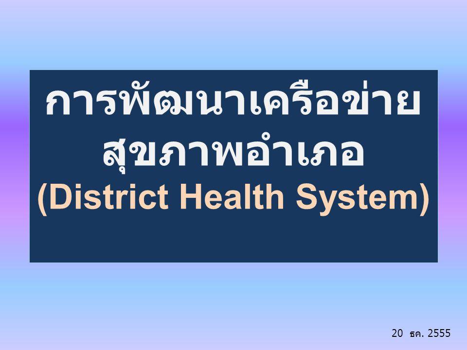 การพัฒนาเครือข่าย สุขภาพอำเภอ (District Health System) 20 ธค. 2555