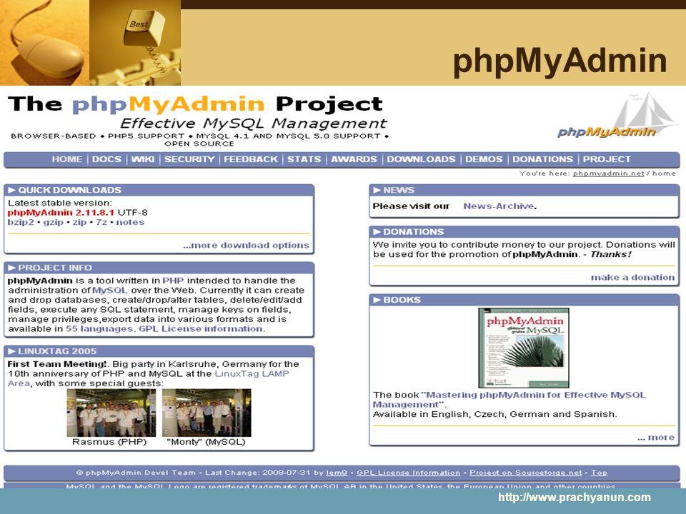 phpMyAdmin http://www.prachyanun.com