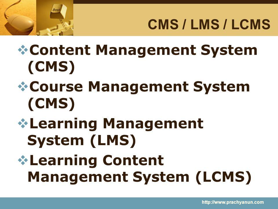 CMS / LMS / LCMS  Content Management System (CMS)  Course Management System (CMS)  Learning Management System (LMS)  Learning Content Management S
