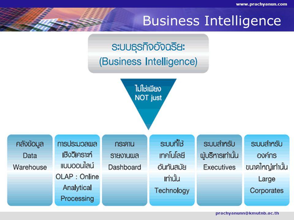 Business Intelligence prachyanunn@kmutnb.ac.th www.prachyanun.com