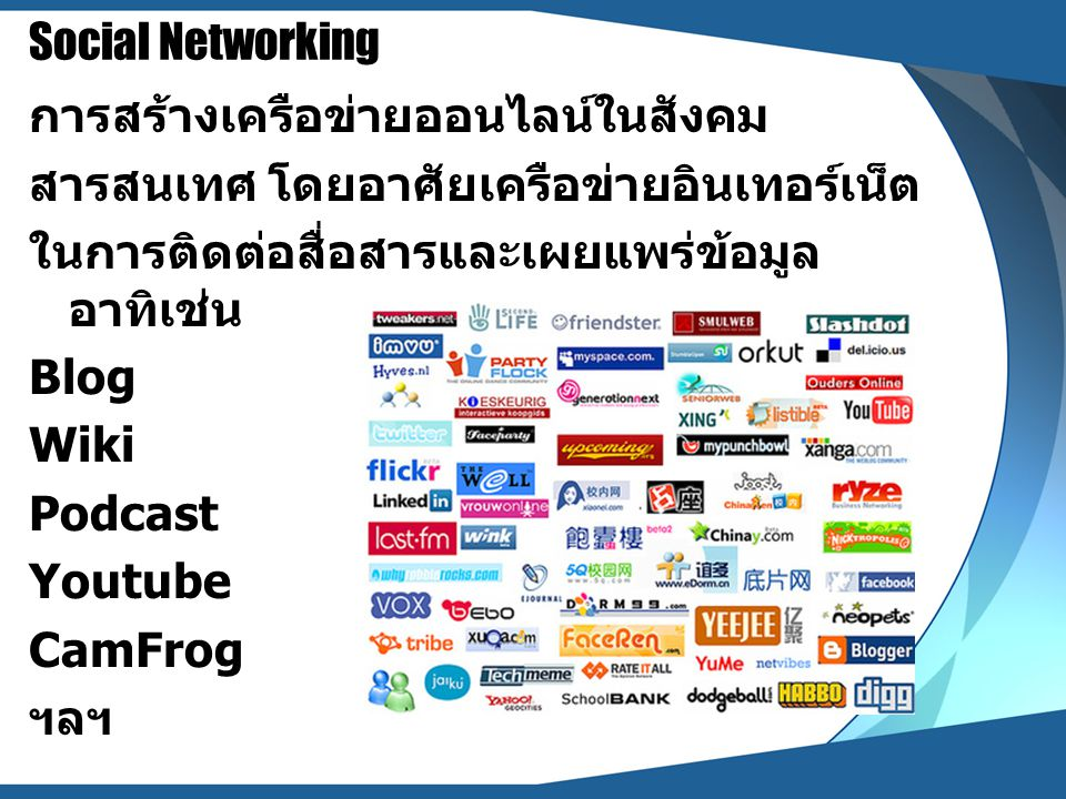 Social Networking การสร้างเครือข่ายออนไลน์ในสังคม สารสนเทศ โดยอาศัยเครือข่ายอินเทอร์เน็ต ในการติดต่อสื่อสารและเผยแพร่ข้อมูล อาทิเช่น Blog Wiki Podcast
