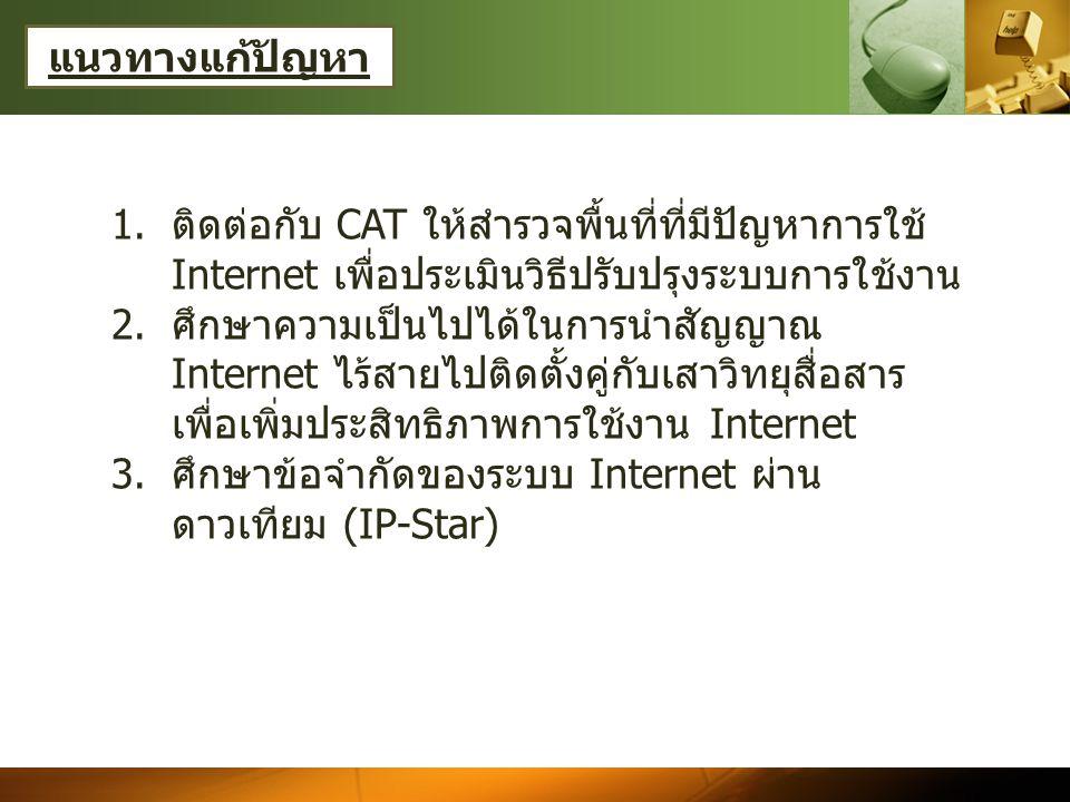 แนวทางแก้ปัญหา 1.ติดต่อกับ CAT ให้สำรวจพื้นที่ที่มีปัญหาการใช้ Internet เพื่อประเมินวิธีปรับปรุงระบบการใช้งาน 2.ศึกษาความเป็นไปได้ในการนำสัญญาณ Internet ไร้สายไปติดตั้งคู่กับเสาวิทยุสื่อสาร เพื่อเพิ่มประสิทธิภาพการใช้งาน Internet 3.ศึกษาข้อจำกัดของระบบ Internet ผ่าน ดาวเทียม (IP-Star)