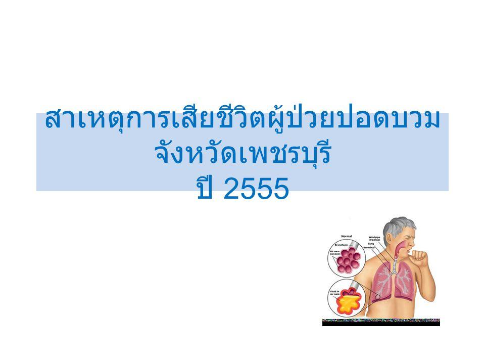 สาเหตุการเสียชีวิตผู้ป่วยปอดบวม จังหวัดเพชรบุรี ปี 2555