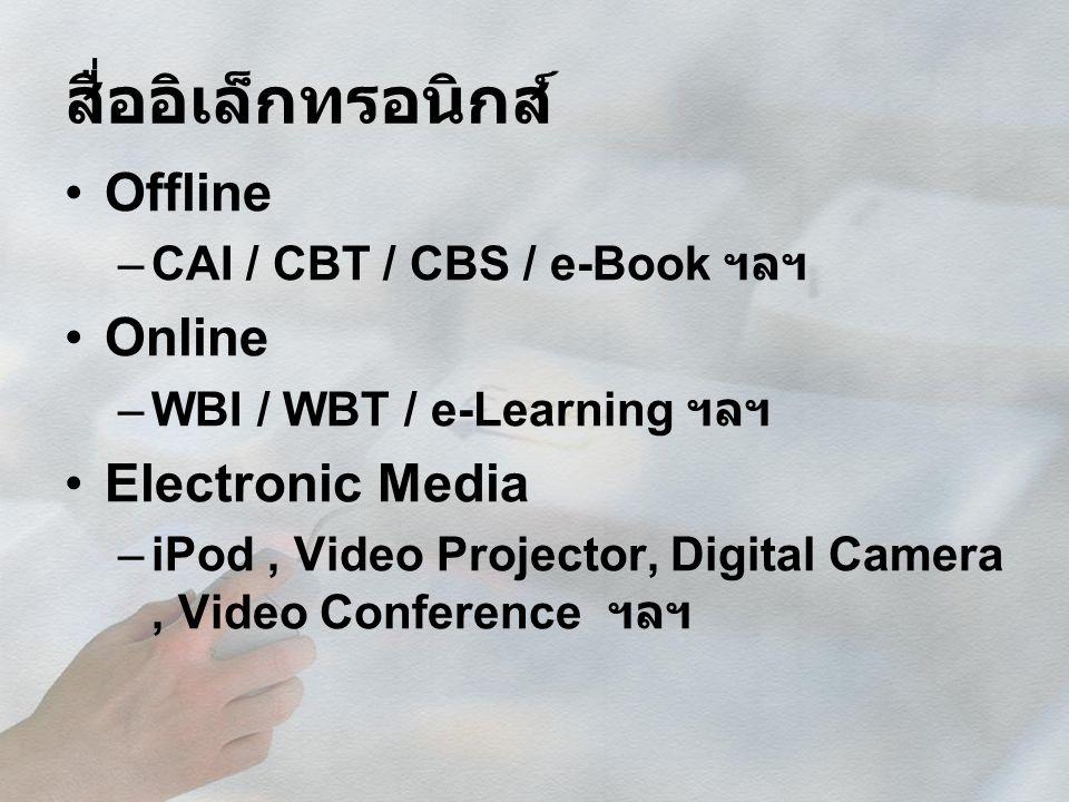 สื่ออิเล็กทรอนิกส์ Offline –CAI / CBT / CBS / e-Book ฯลฯ Online –WBI / WBT / e-Learning ฯลฯ Electronic Media –iPod, Video Projector, Digital Camera, V