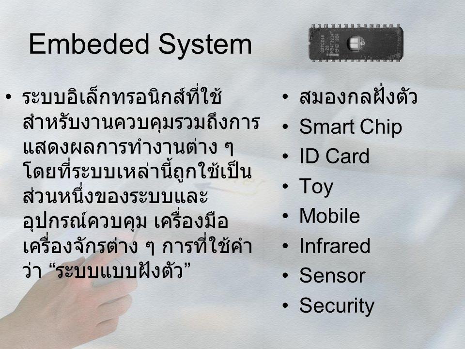Embeded System ระบบอิเล็กทรอนิกส์ที่ใช้ สำหรับงานควบคุมรวมถึงการ แสดงผลการทำงานต่าง ๆ โดยที่ระบบเหล่านี้ถูกใช้เป็น ส่วนหนึ่งของระบบและ อุปกรณ์ควบคุม เ