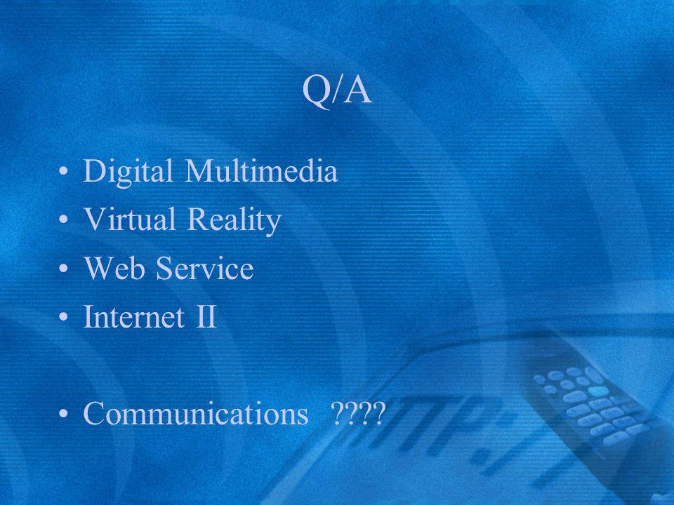 Q/A Digital Multimedia Virtual Reality Web Service Internet II Communications ????