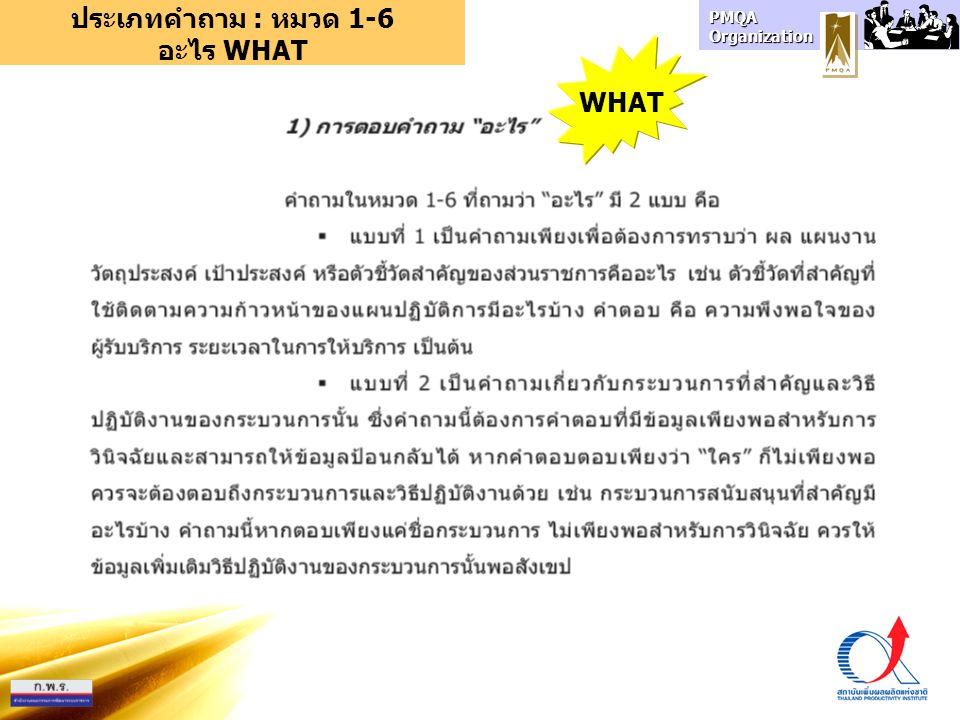 PMQA Organization ประเภทคำถาม : หมวด 1-6 อะไร WHAT WHAT