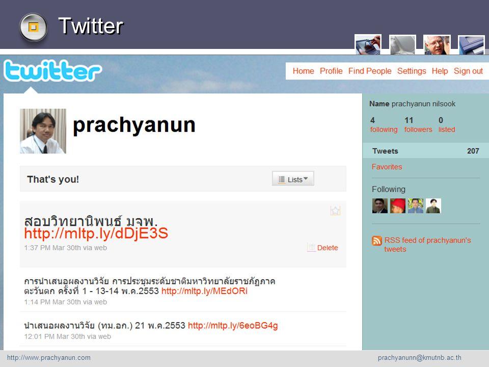 LOGO Twitter http://www. prachyanu n.com http://www.prachyanun.com prachyanunn@kmutnb.ac.th