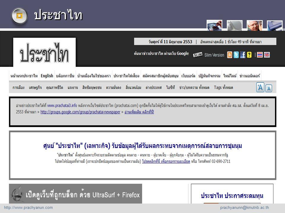 LOGO ประชาไท http://www. prachyanu n.com http://www.prachyanun.com prachyanunn@kmutnb.ac.th