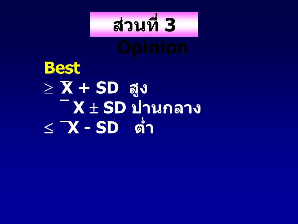 ส่วนที่ 3 Opinion Keis  ปานกลาง + interval สูง ต่ำ + interval ปานกลาง  Min + interval ต่ำ Inter val = Max - Min leve l
