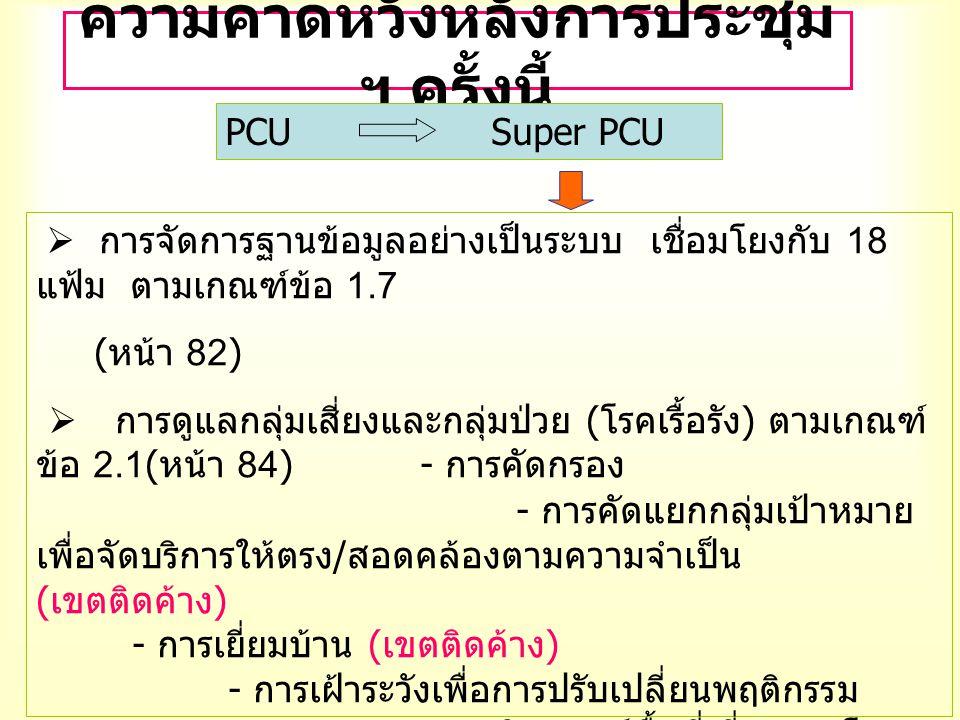 ความคาดหวังหลังการประชุม ฯ ครั้งนี้ PCU Super PCU  การจัดการฐานข้อมูลอย่างเป็นระบบ เชื่อมโยงกับ 18 แฟ้ม ตามเกณฑ์ข้อ 1.7 ( หน้า 82)  การดูแลกลุ่มเสี่