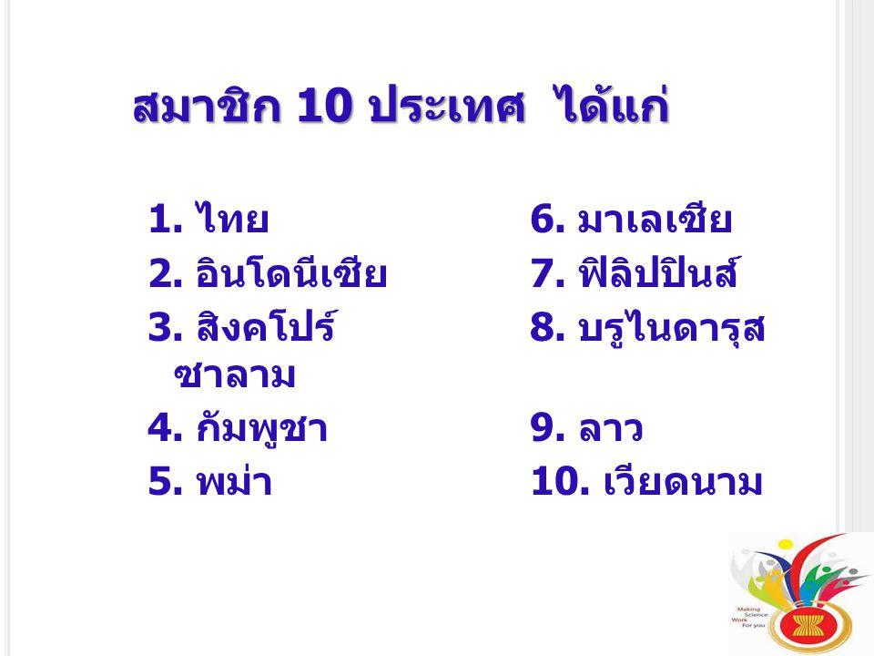 สมาชิก 10 ประเทศ ได้แก่ 1. ไทย 6. มาเลเซีย 2. อินโดนีเซีย 7. ฟิลิปปินส์ 3. สิงคโปร์ 8. บรูไนดารุส ซาลาม 4. กัมพูชา 9. ลาว 5. พม่า 10. เวียดนาม