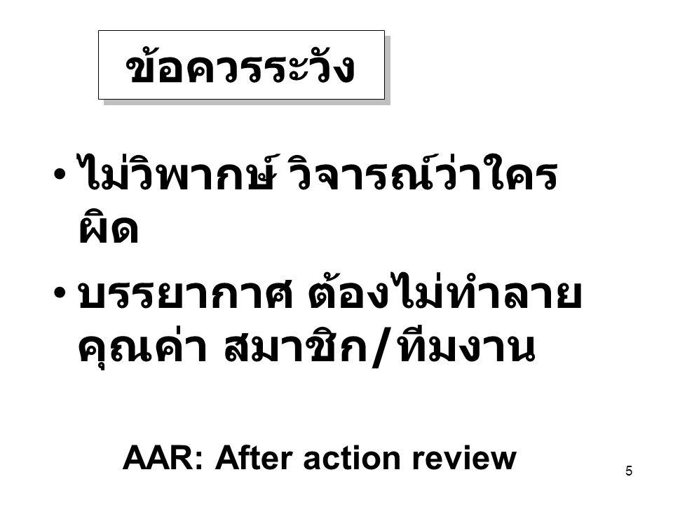 5 ไม่วิพากษ์ วิจารณ์ว่าใคร ผิด บรรยากาศ ต้องไม่ทำลาย คุณค่า สมาชิก / ทีมงาน ข้อควรระวัง AAR: After action review