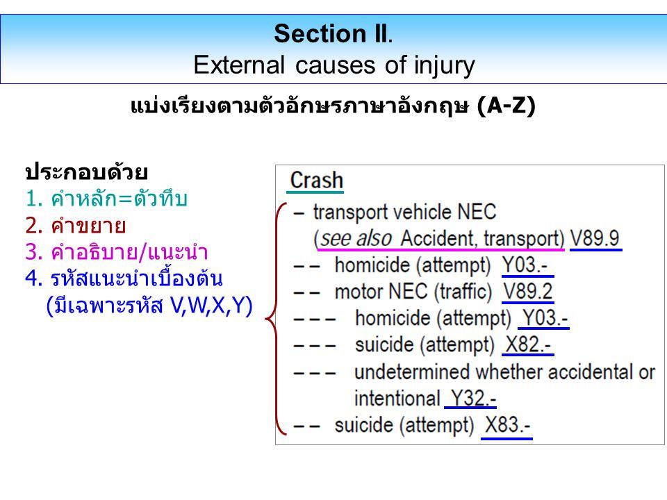 Section II. External causes of injury แบ่งเรียงตามตัวอักษรภาษาอังกฤษ (A-Z) ประกอบด้วย 1. คำหลัก=ตัวทึบ 2. คำขยาย 3. คำอธิบาย/แนะนำ 4. รหัสแนะนำเบื้องต