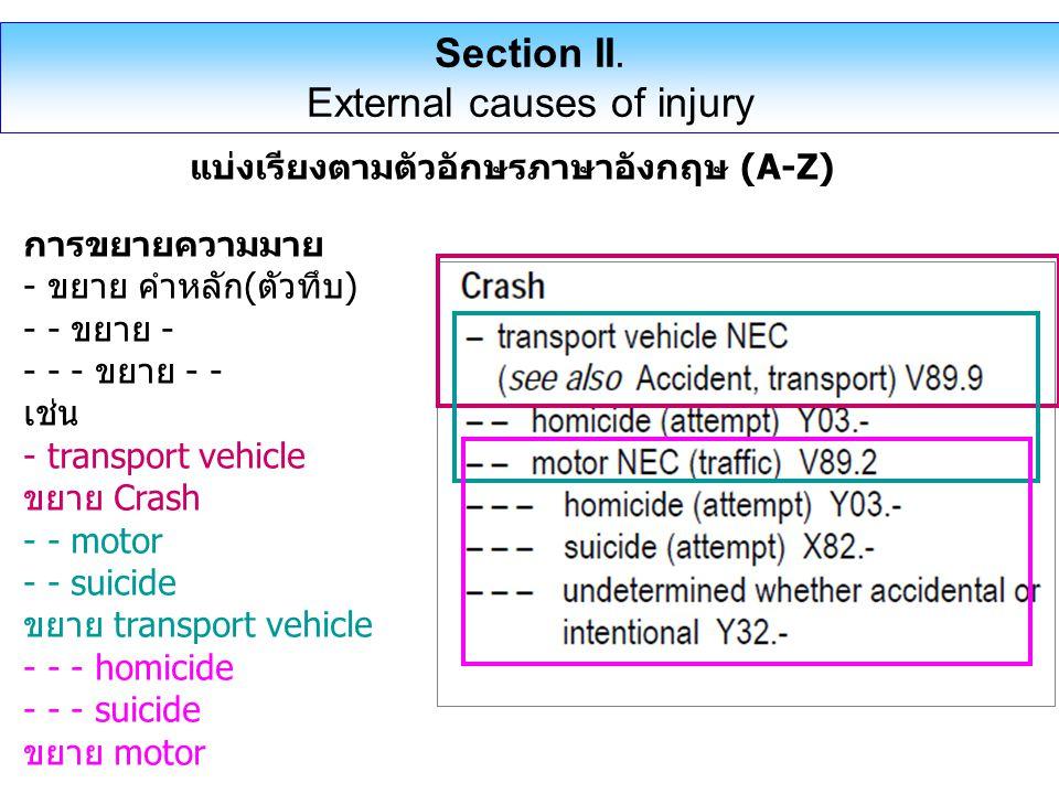 แบ่งเรียงตามตัวอักษรภาษาอังกฤษ (A-Z) การขยายความมาย - ขยาย คำหลัก(ตัวทึบ) - - ขยาย - - - - ขยาย - - เช่น - transport vehicle ขยาย Crash - - motor - - suicide ขยาย transport vehicle - - - homicide - - - suicide ขยาย motor Section II.