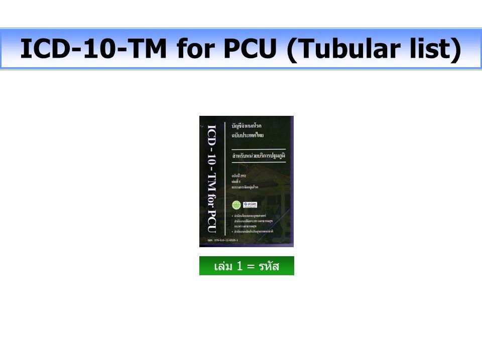 ICD-10-TM for PCU (Tubular list) เล่ม 1 = รหัส