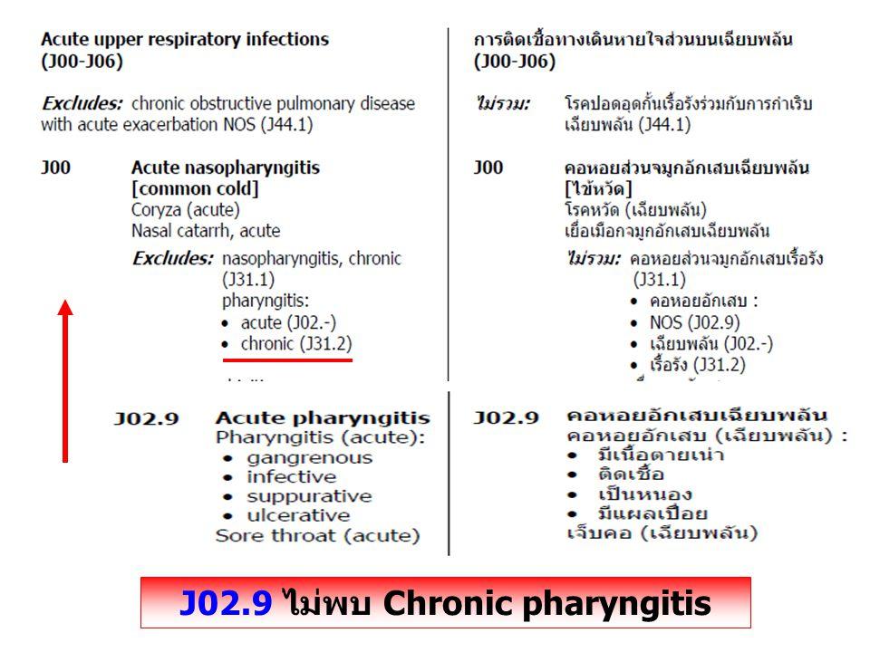 J02.9 ไม่พบ Chronic pharyngitis