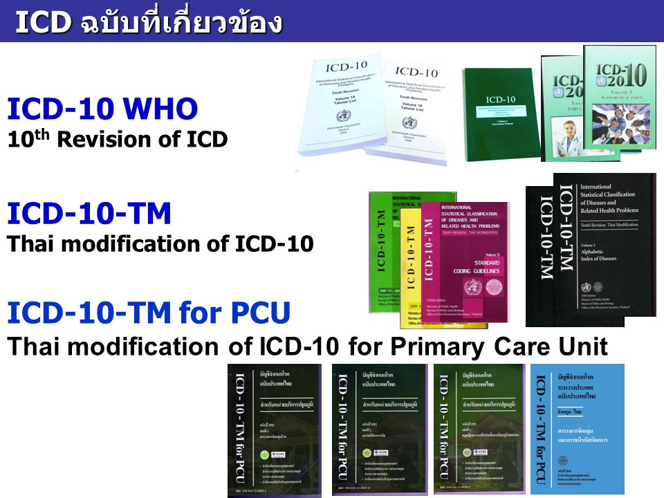 ICD ฉบับที่เกี่ยวข้อง ICD ฉบับที่เกี่ยวข้อง ICD-10 WHO 10 th Revision of ICD ICD-10-TM for PCU Thai modification of ICD-10 for Primary Care Unit ICD-1