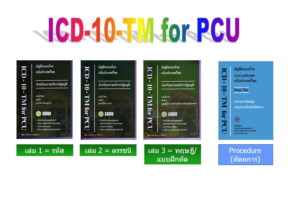 ICD-10-TM for PCU เป็นชุดของรหัสโรค ที่ได้มาจาก การคัดเลือกรหัสบางรายการมาจากรหัสทั้งหมดใน International Statistical Classification of Diseases and Related Health Problems, 10th Revision (ICD-10/WHO), ICD-10-TM (Thai Modification) โดยพิจารณาเลือกเฉพาะรหัสการวินิจฉัยโรค ภาวะ และ อาการที่ซึ่งน่าจะพบได้ในสถานพยาบาลระดับปฐมภูมิ (Primary Care Unit) ตัดรหัสโรคที่ไม่พบหรือพบได้น้อยในประเทศไทย และรหัสโรคที่สลับซับซ้อนออกไป เหลือเพียงรหัสส่วนน้อยมา เพื่อใช้เป็นชุดรหัสที่เหมาะสมกับการใช้งานใน สถานพยาบาลระดับปฐมภูมิ ให้ใช้งานง่ายกว่าการใช้รหัส ICD-10-TM ทั้งหมด