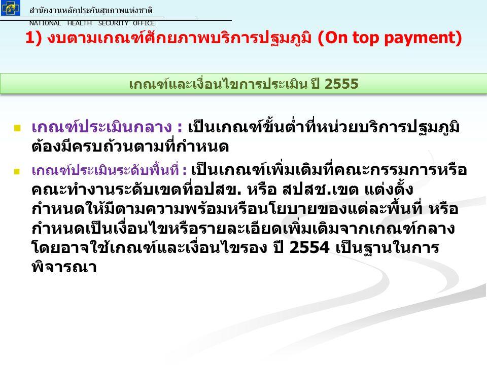 สำนักงานหลักประกันสุขภาพแห่งชาติ NATIONAL HEALTH SECURITY OFFICE สำนักงานหลักประกันสุขภาพแห่งชาติ NATIONAL HEALTH SECURITY OFFICE 1) งบตามเกณฑ์ศักยภาพบริการปฐมภูมิ (On top payment) เกณฑ์ประเมินกลาง : เป็นเกณฑ์ขั้นต่ำที่หน่วยบริการปฐมภูมิ ต้องมีครบถ้วนตามที่กำหนด เกณฑ์ประเมินระดับพื้นที่ : เป็นเกณฑ์เพิ่มเติมที่คณะกรรมการหรือ คณะทำงานระดับเขตที่อปสข.