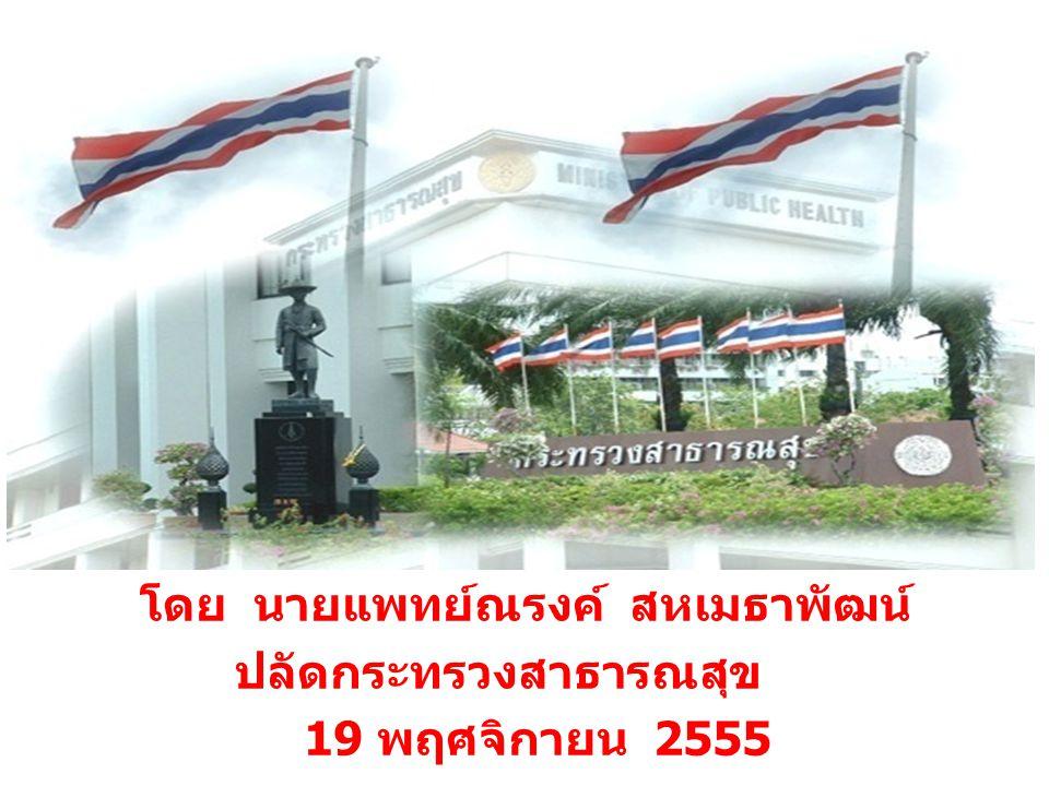 โดย นายแพทย์ณรงค์ สหเมธาพัฒน์ ปลัดกระทรวงสาธารณสุข 19 พฤศจิกายน 2555