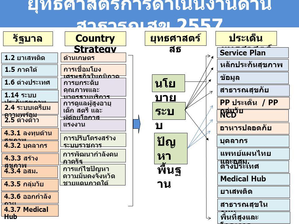 ยุทธศาสตร์การดำเนินงานด้าน สาธารณสุข 2557 รัฐบาล Country Strategy 1.2 ยาเสพติด 1.5 ภาคใต้ 2.5 ต่างด้าว 1.6 ต่างประเทศ 1.14 ระบบ ประกันสุขภาพ 2.4 ระบบเตรียม ความพร้อม ด้านเกษตร การเชื่อมโยง เศรษฐกิจในภูมิภาค การยกระดับ คุณภาพและ มาตรฐานบริการ สาธารณสุข การดูแลผู้สูงอายุ เด็ก สตรี และ ผู้ด้อยโอกาส แรงงาน การปรับโครงสร้าง ระบบราชการ การพัฒนากำลังคน ภาครัฐ การแก้ไขปัญหา ความมั่นคงจังหวัด ชายแดนภาคใต้ 4.3.1 ลงทุนด้าน สุขภาพ 4.3.2 บุคลากร 4.3.4 อสม.