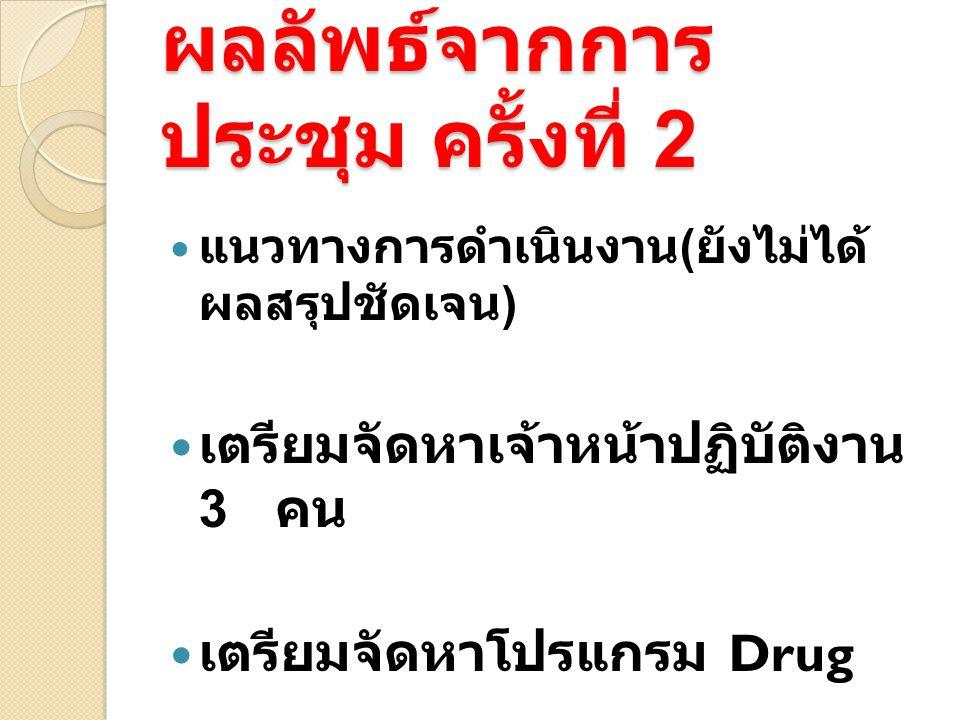 ผลลัพธ์จากการ ประชุม ครั้งที่ 2 แนวทางการดำเนินงาน ( ยังไม่ได้ ผลสรุปชัดเจน ) เตรียมจัดหาเจ้าหน้าปฏิบัติงาน 3 คน เตรียมจัดหาโปรแกรม Drug