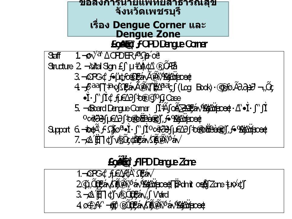 ข้อสั่งการนายแพทย์สาธารณสุข จังหวัดเพชรบุรี เรื่อง Dengue Corner และ Dengue Zone