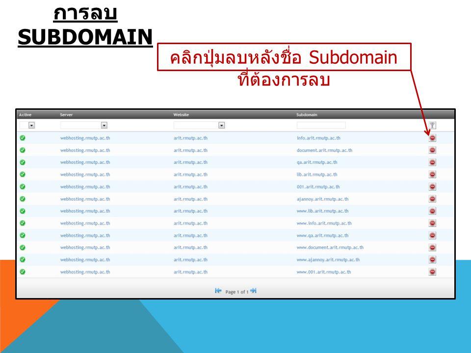 การลบ SUBDOMAIN คลิกปุ่มลบหลังชื่อ Subdomain ที่ต้องการลบ