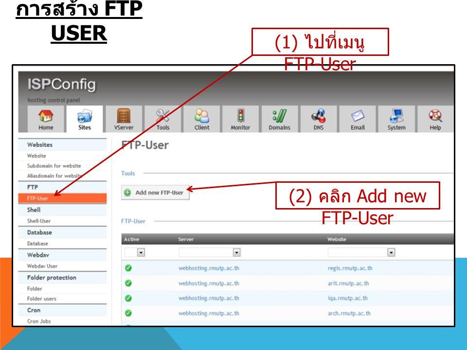 การสร้าง FTP USER (1) ไปที่เมนู FTP-User (2) คลิก Add new FTP-User
